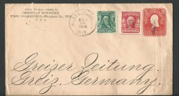 1908.  COVER  FROM WISCONSIN U.S.A. TO GREIZ  GERMANY. - United States