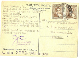 LBON9/2 - ARGENTINE CPA ENTRE RADIOAMATEURS MENDOZA / PLAINNEVAUX (BELGIQUE) 30/8/1956 - Argentine