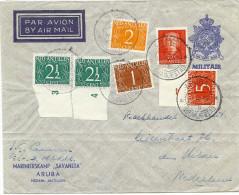 """LBON9/2 - AROUBA ENVELOPPE DE F. M. """"MARINIERSKAMP SAVANETA"""" EN TARIF AVION POUR LA METROPOLE  22/11/1952 - Netherlands Indies"""