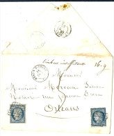 LBON9/2 - FRANCE YT N°4 CERES 25c X2 SUR LETTRE TAXEE MEHUN S/YEVRE - ORLEANS 16/10/1851 - 1849-1850 Cérès