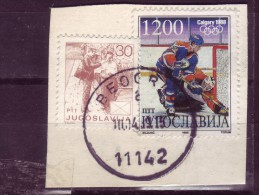 HOCKEY-1200 D-POSTMAN-30 D-CALGARY-1988-POSTMARK-BELGRADE-YUGOSLAVIA - Winter 1988: Calgary