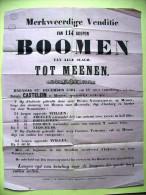 Affiche Poster. Verkoop van bomen in Menen 12 december 1864(!) dicht bij de herberg en barrier Scherpereel