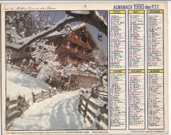 CALENDRIER - ALMANACH DES POSTES ET DES TELEGRAPHES - ANNEE 1980- REGION PARISIENNE - Calendriers
