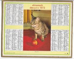 CALENDRIER - ALMANACH DES POSTES ET DES TELEGRAPHES - ANNEE 1973 - Chat -  REGION PARISIENNE - Calendriers