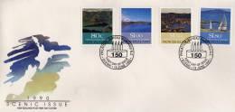Paysages De Ports. Inclus Site D´Akaroa Ou 63 Colons Francais S´installèrent En 1840. FDC 1990. - FDC