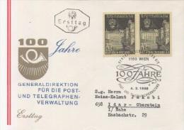 AUSTRIA. FDC. 100th ANNIV. General Administration Of Post And Telegraph. VIENNA 1966 - Zonder Classificatie