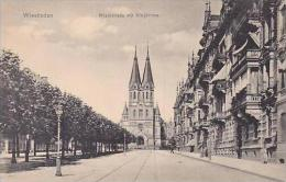 Germany Wiesbaden Rheinstrasse mit Ringkirche