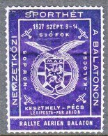 HUNGARY  AEROPHILATELIC  AIR  RALLY  1937    * - Airmail