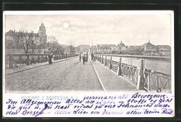 Mondschein-AK Brandys, Blick Von Der Brücke - Czech Republic