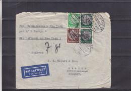 Allemagne - Lettre De 1938 ° - Oblitération Bahnpost Hamburg - Osnabruck - Expédié Vers Ecuador - Par New York - Deutschland