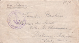 """Lettre FM De TIEN-TSIN CHINE - Cachet Ancre """" CORPS D'OCCUPATION DE CHINE """" Via Sibérie > Bellevue Meudon - Navale - Poststempel (Briefe)"""
