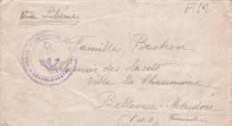"Lettre FM De TIEN-TSIN CHINE - Cachet Ancre "" CORPS D'OCCUPATION DE CHINE "" Via Sibérie > Bellevue Meudon - Navale - Military Postmarks From 1900 (out Of Wars Periods)"