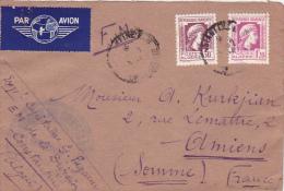 MARIANNE ALGER 1f20 + 30c Comme TAXE AVION Sur Lettre FM - DIVISION DE CONSTANTINE - ALGERIE - Algérie (1924-1962)
