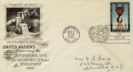 FDC Nations Unies 9 DEC 1960 - 4c - Reconstruction And Development - New-York - Siège De L'ONU