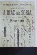 BORDEAUX MR DIAZ DE SORIA PUB CHEMISE1 SUR MESURE  1880 COURS DE L INTENDANCE GRAND BILLET DE BANQUE - Vieux Papiers