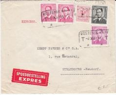 BELGIUM EXPRESS COVER 08/12/1960 COB 859, 924, 1067 & 1069 OOSTENDE KAAI VERS STRASBOURG VIA BRUXELLES X - 1953-1972 Bril