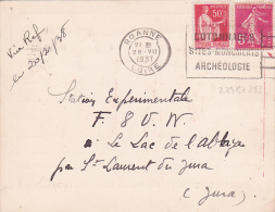 1937 Semeuse N° 278B + Paix 283 Sur CP RADIO AMATEUR  > Le Lac D Edl'Abbaye Jura - Carte De ROANNE Loire  F8LI - QSL - Postmark Collection (Covers)