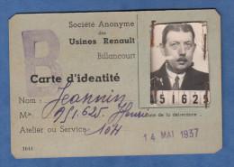 Carte Ancienne D'identité Des Usines RENAULT - Atelier 104 - BILLANCOURT - 1937 - TOP RARE - Historical Documents