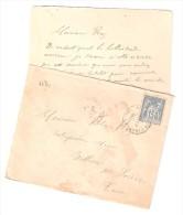 Lettre De ST SAINT FELIX De CARAMAN, Haute Garonne, TYPE SAGE 15 C ,Cachet OR + Correspondance  Maçonnerie > Belleserre, - 1876-1898 Sage (Type II)
