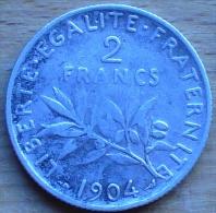 2 FRANCS SEMEUSE ARGENT 1904 TB++