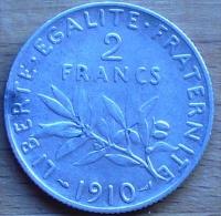 2 FRANCS SEMEUSE ARGENT 1910 TB++