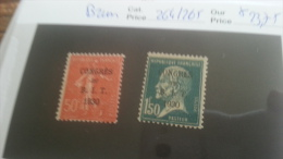 LOT 216561 TIMBRE DE FRANCE NEUF* N�264/265 VALEUR 23,75 EUROS SIGNE BRUN