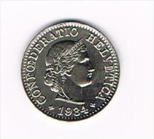 ¨ ZWITSERLAND  5 RAPPEN  1934 - Suisse