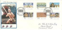 N-Z.La Culture Maori (Héritage Néo-Zélandais) Série Complète Yv.1078/83. Enveloppe Souvenir Premier Jour 1990 - FDC