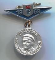 Pionier Organisation 1968. East Germany (DDR), big pin, badge