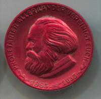 Proletarier aller lander vereinigt euch,  East Germany (DDR), big pin, badge