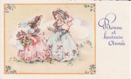 Mignonnette , Bonne Année,  2 Demoiselles élégantes, Signée Luce André - Nouvel An