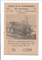 SUISSE ticket de Chemin de Fer � vapeu PONT-BRASSUS 75eme anniversaire