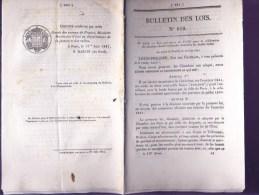 Bulletin Des Lois Du 17 Juin 1841 – 173 Ans D'âge ! - Responsabilité Des Propriétaires De Navires - Crédit Pour Celebrat - Decrees & Laws