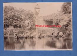 Photo ancienne d�but 1900 - HU� ( VIET NAM , INDOCHINE ) - Vue sur l' Arroyo - voir bateau , pont , lampadaire fran�ais
