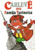[DC0025] CARTOLINEA - MOLTO RARA - CARNEVALE DI TORINO 1994 - DISEGNO EMILIO ISCA - Mole Antonelliana