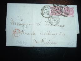 LETTRE (PLI) POUR LA FRANCE TP THREE PENCE X2 OBL. 847 + NO 8 75 WARRINGTON + CACHET ROUGE PP? - 1840-1901 (Victoria)