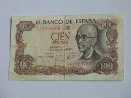 100 Pesetas - Cien Pestas - ESPAGNE-  17.11.1970 El Banco De ESPANA **** EN ACHAT IMMEDIAT **** - [ 3] 1936-1975: Regime Van Franco