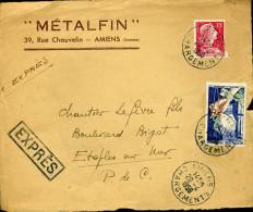EXPRES Lettre AMIENS CHARGEMENTS 1958 Timbre Marianne De Muller Et Joaillerie Orfévrerie Soit Tarif à 65F Devant Seul - Bolli Manuali