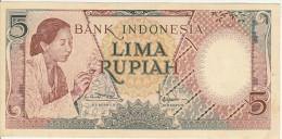 Indonesia 5 Rupian 1958 Pick 55 UNC - Indonésie
