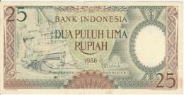 Indonesia 25 Rupian 1958 Pick 57 UNC - Indonesia