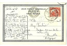 "LANV8- EGYPTE CPA ""THEBES COLOSSES DE MEMNON""  LUQSOR / BRUXELLES 13/1/1908 - Egypt"