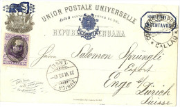 LANV8- PEROU EP CP  AVEC TPM CALLAO / ZURICH 28/5/1895 - Pérou