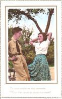 """COUPLE AMOUREUX LA BELLE ET SON MILITAIRE """"JE VEUX CROIRE EN VOS SERMENTS """"   REF 39137 - Couples"""