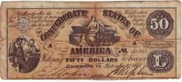 ETATS UNIS CONFEDERES , billet de 50 Dollars Confederate States , TRES CONVENABLE !!!!