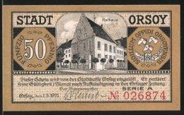 Billet De Nécessité Orsoy 1921, 50 Pfennig, Hôtel De Ville Et Armoiries, Vue De Niederrhein - [11] Local Banknote Issues