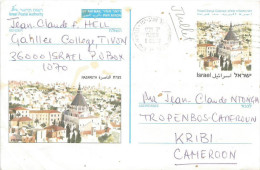 Israel 1998 Tel Aviv Postage Paid Nazareth Airmail Stationary Postcard - Brieven En Documenten