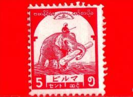 BURMA - Myanmar (Birmania)  - Occupazione Giapponese - 1943 - Elefante Trasparta Legname - 5 - Scott 2N44 - Myanmar (Burma 1948-...)