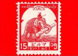 BURMA - Myanmar (Birmania)  - Occupazione Giapponese - 1943 - Elefante Trasparta Legname - 15 - Scott 2N45 - Myanmar (Burma 1948-...)