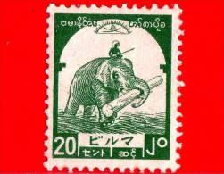 BURMA - Myanmar (Birmania)  - Occupazione Giapponese - 1943 - Elefante Trasparta Legname - 20 - Scott 2N47 - Myanmar (Burma 1948-...)