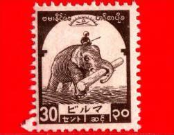 BURMA - Myanmar (Birmania)  - Occupazione Giapponese - 1943 - Elefante Trasparta Legname - 30 - Scott 2N48 - Myanmar (Burma 1948-...)
